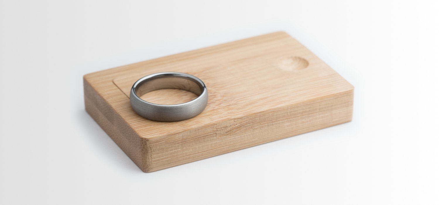 Wooden Box with Tungsten Men's Wedding Ring